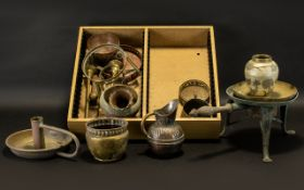 A Box of Collectable Metal Ware to include brass candle stick, planters, vases etc. Please see