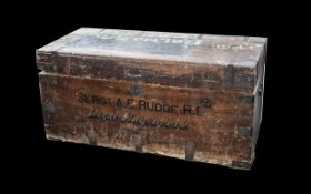 Oak Military Chest with Painted Name on Side and metal banding. Name on chest is Sergeant Rudge.