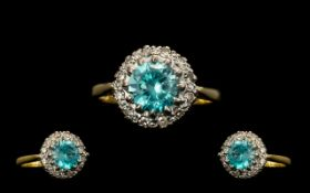 18ct Gold - Attractive Diamond and Blue Topaz Set Cluster Ring. Flower head Design. Full Hallmark