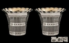 Edwardian Period Nice Quality Pair of Open Worked Silver Flared Rim Vases of nice proportions.