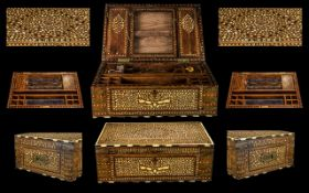 An Ebony And Ivory Inlaid Sewing Box Possibly Anglo-Indian, the mahogany box of rectangular form