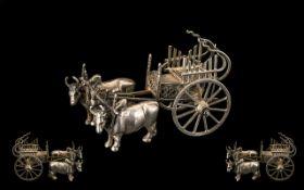 Silver Bullock Cart / Ox Cart. White met