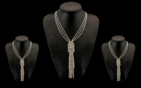 White Crystal Long Circle and Tassel Nec