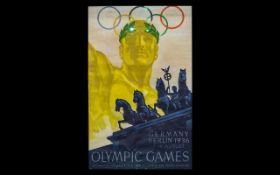 Vintage Posters and Olympic Icons Interest Franz Wurbel (1896) Germany Berlin 1936 Olympic Games