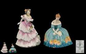 Royal Doulton Hand Painted Porcelain Figurines (2) 1.''VICTORIA'' HN 3416 Modelled by Peggy