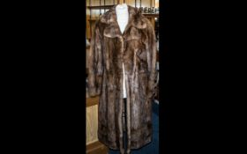 Full Length Vintage Mink Coat, rich brown colour with collar and reveres, with two slit pockets,