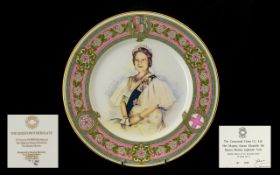 Caverswall China Queen Mother 80th Year Plate. Limited edition of 2000, Number 1380. Boxed and
