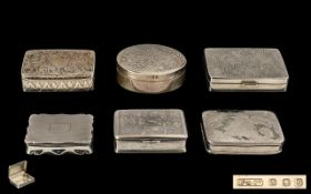 A Good Collection of Vintage and Contemporary Silver Pill Boxes ( 6 ) In Total. Various Makers of