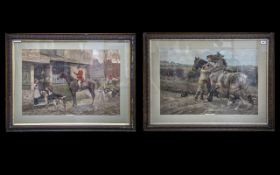 A Pair of Large Framed Coloured Prints titled 'The Jolly Huntsman' and 'Whoa Steady' , both glazed