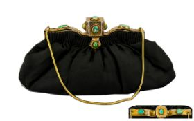 French 1920's Nice Quality Ladies Silver & Black and Silk Purse/Bag with silver gilt mounts and
