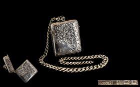 Silver Vesta Case & Albert Chain. Silver vesta dated Birmingham 1904 along with a silver