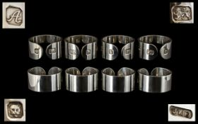 A Superb Contemporary Sterling Silver Set of Eight Napkin Holders of the highest quality - thick