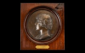 Early 20thC Bronze Cameo Roundel depicting the Queen Mother. Set in a mahogany frame, with gilt
