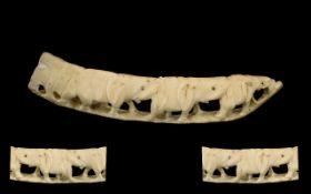 Bone / Ivory Figure Group Of Elephants. Early 20th Carved figure group depicting elephants in a