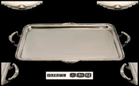 Art Deco Period - Impressive and Superb Quality Two Handled Gallery Tray, with art Deco designed