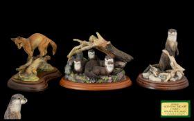 Border Fine Arts Handmade Trio of Animal Figures. Comprises 1/ Secret Plates AO401, River Hideaway '