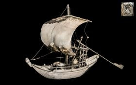 Portuguese 19th Century Superb Quality Large Silver Cargo Boat with sails at full speed.