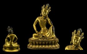 Sino-Tibetian Fine Quality Ming Period Gilt Lacquered Bronze Figure of Amitayus - The Buddah of
