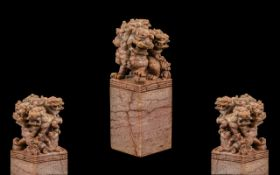 Chinese Pink Soapstone Seal of Large Size surmounted with a Mother Foo Dog with two pups, finely