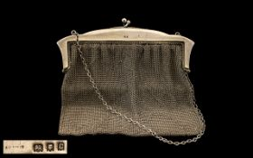 Early 20thC Large Silver Mesh Purse/Bag with chain. Hallmark London 1918. Measures 6.5 x 7 inches