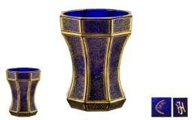 Josef-Hoffmann for Koloman Moser Rare Blue Glass Modernish Krug-Beaker of tapering form, with gilded
