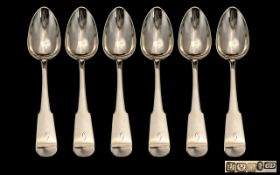 Scottish Silver Interest George IV - Good Quality Set of Six Large Sterling Silver Serving Spoons,
