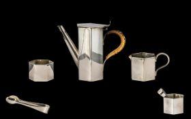 Art Deco Bachelor Set of Coffee Pot, Milk Jug and Sugar bowl with Sugar Nips. Coffee Pot measures
