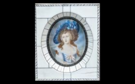 An Ivory Coloured Framed Miniature 'Lady Sheffield' After Gainsborough. Measuring 4.5 by 5 inches