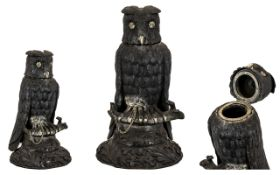Victorian Irish Novelty Bog Oak Inkstand circa 1870 Realistically Modelled And Carved In The Form Of