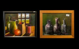 Oil Painting by Hadrian Richards 'Still Life in Violet'. Billy Bedlam is a Musician, TV Composer (
