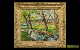 Margaret Fisher Sprout Oil on Board 'Willows at Winchelsea'. British artist Margaret Fisher