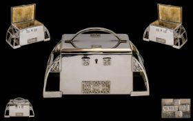 Art Nouveau Period WMF Silver Plated Hinged Jewellery Casket of wonderful proportions. Marked WMF to