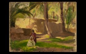 George Spencer Watson RA RWS ROI (1869-1934) Oil Painting on Panel, Middle Eastern Landscape with