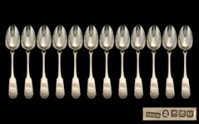 Scottish Silver Interest George IV - Nice Quality Sterling Silver 12 Piece Set of Large Table