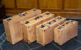 Set of Four Vintage Leather Suitcases by Giovanni. In light tan colour, largest width measures 29'',