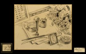 Cecil Beaton 1904 - 1980 Artist Signed Ink and Pencil Sketch on Paper ' Still Life ' Items on a