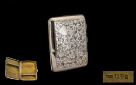 Ladies 0 Nice Quality Sterling Silver Hinged Cigarette Case with Gilt Interior, Push Button to Open.