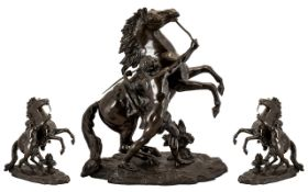 20thC Bronze Figure Group Marley Horse and Trainer. After Guillaume Coustou, rearing horse raised on