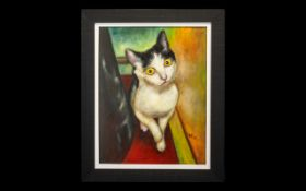 Oil Painting by Hadrian Richards 'Curious Cat'. Billy Bedlam is a Musician, TV Composer (BBC),