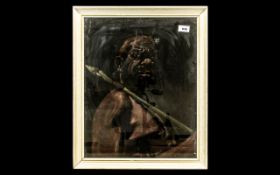 An Unusual Antique Painting of an Australian Aboriginal Man holding a spear. Head and shoulders