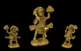 Late 19th Century Indian/Tibetian Cast Figure of a Monkey god figure dressed in all his splendour,
