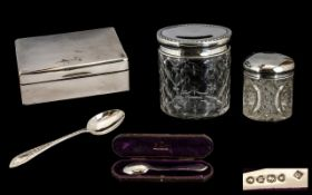 Collection Of Silver Items. Silver cigarette box dated London 1924, Silver spoon in box dated London