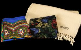 Three Liberty Scarves comprising a winter creamy/white scarf 100% lambs wool, with fringing;