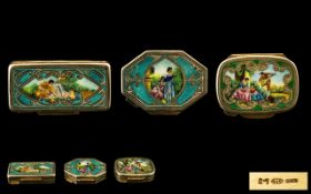 A Nice Quality Trio of Silver Gilt and Enamel Pill Boxes, The Covers Depicting Scenes with Figures