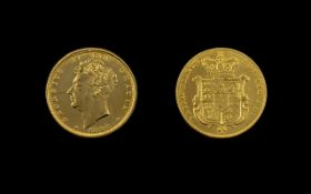 George IV Shield back 22ct Gold Sovereign. Dated 1826, London Mint. Near E.F. condition. Please