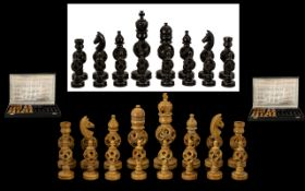 Chinese - Mid 20th Century Large and Impressive Ebonised Carved Wooden Puzzle Ball Chess Set, The