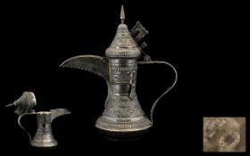 Large Silver Omani Coffee Pot. Silver Omani coffee pot, lovely patina and decoration throughout,