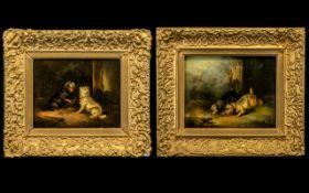 Pair of Oil Paintings Paul Jones - Animal Painter 1856-1888 - Titled 'Terriers Ratting' and '