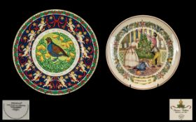 Two Wedgwood Plates comprising a boxed Christmas 1987 plate with certificate and original box; and a