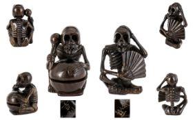 Netsuke Interest - Japanese Carved Boxwood Miniature Figures ( 2 ) Each Depicts a Skeleton Figure,